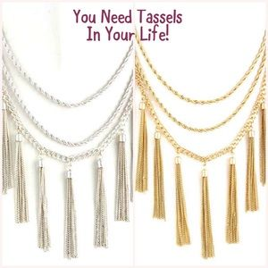 Layered Mixed Chains & Multi Tassels Necklace, NWT